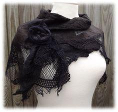 RESERVED for Eileen Black Rose Shawl Nuno felt shawl by folkowl