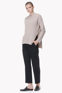 Side deep slit sweater
