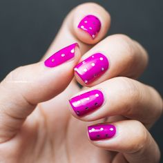 Magenta and Silver Glitter Dots / Manicure / Nails