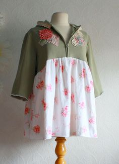 Shabby Chic Upcycled Hoodie Top Women's Clothing by MyFairMaiden, $59.00