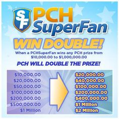 There are so many benefits to being a PCHSuperFan and here's just one of them! Register now : http://bit.ly/BecomeAPCHsuperfan #PCH  I am a SuperFan. Yes Double Win.