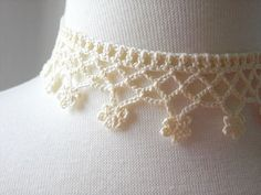 Crocheted necklace choker White cream cotton by MaybeTheWhiteDog, @Patty Wanta