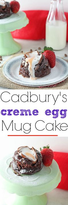 A delicious molten chocolate Cadbury's Creme Egg Mug Cake recipe. Ready in just 4 minutes! | My Fussy Eater Blog