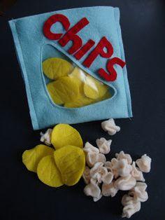 DIY Felt Chips + Chip Bag + Popcorn #DIY #Sewing #Sew #Toys #FeltFood #PlayFood…