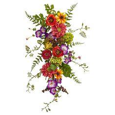 Nearly Natural Garden Flower Teardrop Swag Seashell Wreath, Floral Wreath, Floral Swags, Faux Flowers, Silk Flowers, Potted Flowers, Flower Plants, Silk Plants, Bouquet Flowers