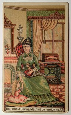 1882 Antique Household Sewing Machine Co Providence RI Victorian Trade Card | eBay