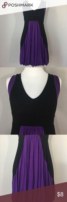 """Forever 21 purple black color block bubble hem S Forever 21 purple and black color block dress with a bubble hem. Size small. Made in the USA. 95% Rayon 5% Spandex. Measurements laying flat: 14.5"""" length: 29"""" Forever 21 Dresses Mini"""