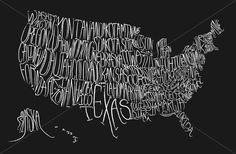 Just got this great print for the office from Etsy by Little Owl Design <3 Typographic map of the US
