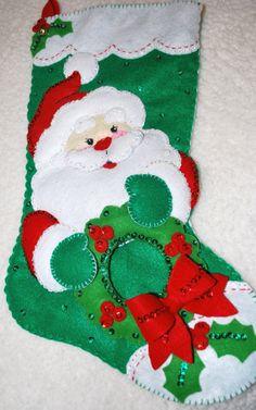Christmas Santa Felt Christmas Stocking by AidensLove on Etsy, $61.00