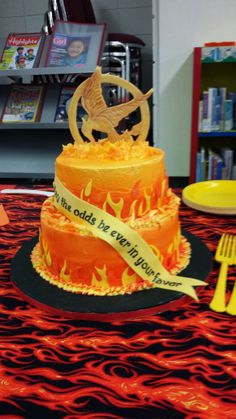 """""""May the odds be forever in your favor"""", No truer words could be said for our heroes in public service ! Cute Birthday Cakes, 13th Birthday Parties, 12th Birthday, Birthday Party Themes, Birthday Ideas, Hunger Games Cake, Hunger Games Party, Cupcakes, Cupcake Cakes"""