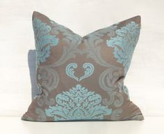 Turquoise n Taupe Decorative Pillow Pretty on by PillowTalkOnEtsy, $42.00