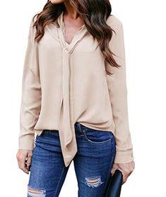 8581be20a09497 Yidarton Women V Neck Chiffon Long Sleeve Solid Color Casual Tops Shirts  Blouse