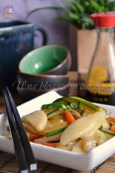 gnocchi di riso cinesi (2) Veggie Recipes, Asian Recipes, Vegetarian Recipes, Cooking Recipes, Healthy Recipes, Ethnic Recipes, All U Can Eat, Sushi, Oriental