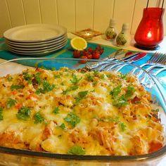 Edel's Mat & Vin : Ovnsbakt kylling med kremet makaroni, bacon & grønnsaker ✿