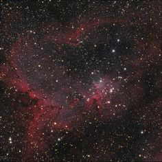 IC 1805, The Heart Nebula. Located in the constellation of Cassiopeia 7,500 light years away from Earth. The Nebula glows red due to a small group of stars named Melotte 15 which emits radiation upon the Nebula causing it to glow