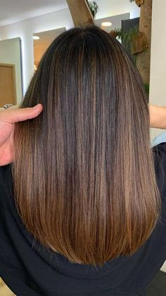 33 Gorgeous hair color ideas for a change-up this new year Straight Brunette Hair, Balayage Straight Hair, Balayage Hair Blonde, Brown Blonde Hair, Dark Hair, Warm Blonde, Light Blonde, Brown Straight Hair, Honey Balayage