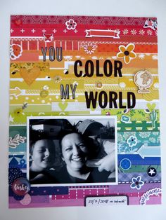 page made for Rainbow theme challenge Monthly Challenge, Rainbow Theme, Happy Mail, My World, Scrapbook Pages, Challenges, Paper Crafts, Blog, Tissue Paper Crafts
