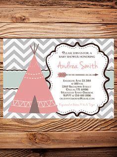 TEEPEE Baby Shower Invitation Beige Teal by StellarDesignsPro, $21.00