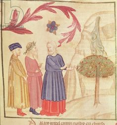 Dante and Virgil (70-19 BC) in the Terrestrial Paradise, from 'The Divine Comedy' by Dante Alighieri (1265-1321) (vellum)