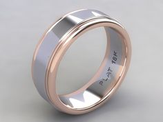 Custom Hand Crafted Two Tone Platinum and 18k Rose Gold Rail Men's Wed – Until Death, Inc.