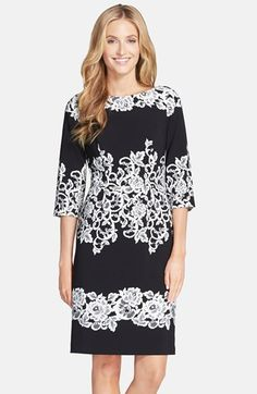 "Adrianna+Papell+Placed+Print+Sheath+Dress+available+at+#Nordstrom  39"" length (size 8). Back zip closure. Three-quarter sleeves. Fully lined. 95% polyester, 5% spandex. Dry clean. By Adrianna Papell; imported."