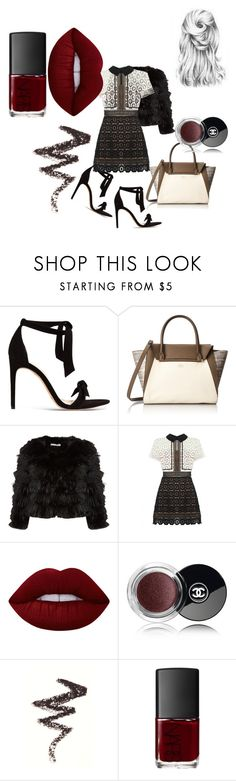 """""""Untitled #47"""" by theresagrace ❤ liked on Polyvore featuring Alexandre Birman, Vince Camuto, Alice + Olivia, self-portrait, Lime Crime, Chanel, NYX and NARS Cosmetics"""