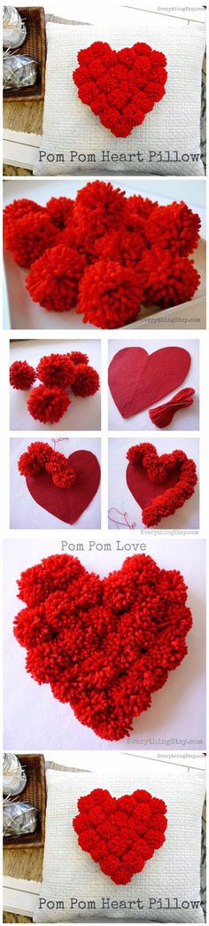 7 Valentine's Day Craft Ideas Will Inspire You Homemade Pom pom Heart Pillow.Top 7 Valentine's Day Craft Ideas Will Inspire You.Top 7 Valentine's Day Craft Ideas Will Inspire You. Pom Pom Crafts, Yarn Crafts, Diy And Crafts, Crafts For Kids, Preschool Crafts, Decor Crafts, Craft Tutorials, Craft Projects, Sewing Projects