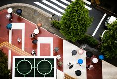 Geometric Tokyo street, seen from above