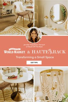 Jenn from Haute Off The Rack turned a small extra room into a glam multipurpose workspace and wardrobe, choosing unique products from World Market. For more tips and 1000s of small space furniture and decor pieces for your home, visit World Market! #WorldMarket #HomeDecor #SmallSpaces #PlusItUp
