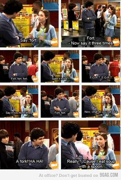 Totally did this to my Mom and dad. It was awesome haha before she was a warehouse agent Claudia was a smarty pants on Drake and Josh
