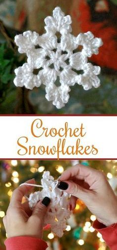 Pretty crochet snowflake is intricate and yet easy to make. Use as an ornament, … Pretty crochet snowflake is intricate and yet easy to make. Use as an ornament, gift embellishment or window decoration. Great video how-to. Crochet Christmas Decorations, Crochet Christmas Ornaments, Christmas Crochet Patterns, Christmas Snowflakes, Christmas Diy, Crochet Ideas, Snowflake Ornaments, Christmas Bells, Christmas Angels