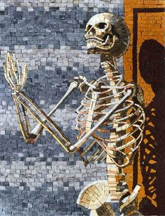Customize your mosaic. how to install your mosaic. A Religious Marble Mosaic Showing a Skeleton praying. It can represent anyone. It is Fully Handmade Detailed Mosaic. Backing:Your Mosaic comes on a mesh Backing. | eBay!
