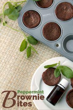 New delicious dessert recipe for Peppermint Brownie Bites from RecipesWithEssentialOils.com