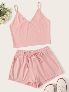 To find out about the Solid Cami Top With Drawstring Waist Shorts at SHEIN, part of our latest Two-piece Outfits ready to shop online today! Cute Pajama Sets, Cute Pjs, Cute Pajamas, Girls Fashion Clothes, Teen Fashion Outfits, Emo Outfits, Punk Fashion, Lolita Fashion, Summer Outfits