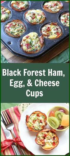 These Black Forest Ham, Egg, & Cheese Cups are perfect for entertaining. The Black Forrest Ham creates a smoky crispy crust for the cheesy egg filling. Best Breakfast Recipes, Low Carb Breakfast, Breakfast Dishes, Brunch Recipes, Breakfast Ideas, Breakfast Muffins, Perfect Breakfast, Black Forest Ham, Dark Forest