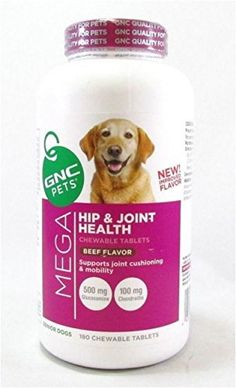 GNC Pets Hip and Joint Health Senior Dogs Peanut Butter 180 Tablets Exp 4/2018 by Mega Hip ** See this awesome image  : Dog Health Supplies