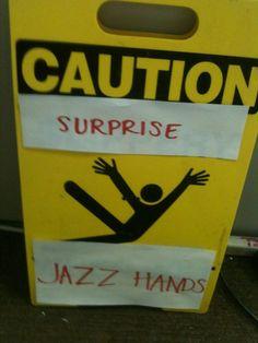 Surprise... jazz hands