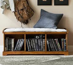 Samantha Entryway Bench #potterybarn - something like this, perhaps without the cubby holes below?