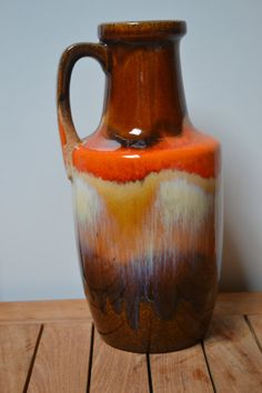 Beautiful West Germany ear vase in shades of by JCHiddenTreasures, €20.00