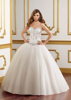 Tulle Ballgown with Basque Waistline and Beaded Embellishment