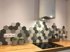 Concrete Hexagon Tiles Retro Products retro products for kitchen Hexagon Tile Backsplash, Hexagon Tiles, Kitchen Tiles, Kitchen Retro, Sink Design, Küchen Design, House Design, Design Ideas, Mix Concrete