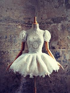 Vintage Alexander McQueen Dress lace on a wooden doll