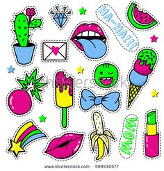 Set of pop-art stickers, badges and pins. Vector stickers, pins, patches in cartoon 80s-90s comic style. Bright cartoon retro Illustration