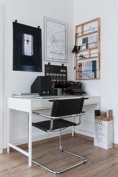 Work corner. Poster Club art print, @kajastef calendar, Ikea Ypperlig shelf, vintage typewriter Wanderer, Mapiful personalised poster, Little paper bag by Be Poles.