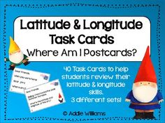 Latitude and Longitude Task Cards - 3 different sets of cards! ($)