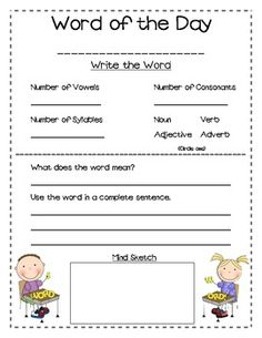 Word of the Day for Vocabulary ~ Inspired Writing Teacher
