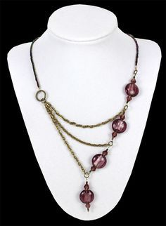 Purple & Bronze Asymmetrical Chain Necklace  click through for project instructions