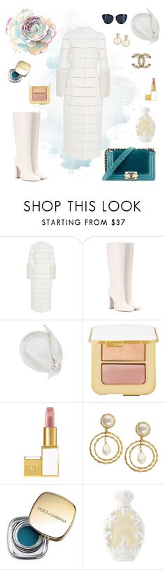 """Rominastyle"" by rominastyle ❤ liked on Polyvore featuring Chanel, J. Mendel, Gianvito Rossi, Tom Ford, Dolce&Gabbana and Kat Von D"