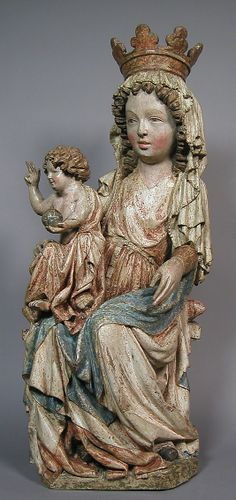 Enthroned Virgin & Child  --  Painted Limewood  --  Circa 1350  --  Either Bohemian or Moravian  --  The Metropolitan Museum of Art