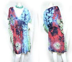 Vtg Retro Hippie Boho Handmade Tie Dye Color Tunic Tent Kaftan Cover Up Dress   eBay